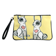 """Love Bunnies"" Vegan Clutch/Crossbody Bag - Design by Berkeley artist Michelle White (Multicolored ) from $55"